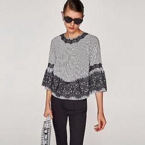 Zara Striped Bell Sleeve Top with Lace Detailing